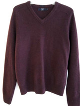 J CREW Mens Sweater Size M Slim Lambswool Cabernet Red V Neck Sweater $70 Value - $34.99