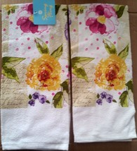"2 SAME PRINTED KITCHEN TOWELS, 15"" x 25"" VALENTINA FLOWERS by SPRING FLING - $9.89"