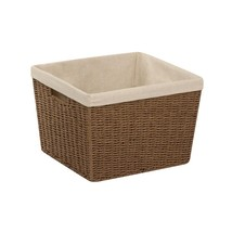Honey-Can-Do Paper Rope Storage Basket with Liner, Brown - £23.21 GBP