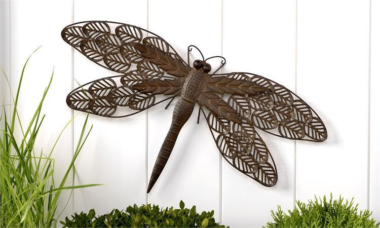 "23"" Brown Iron Dragonfly Design Wall Decor"