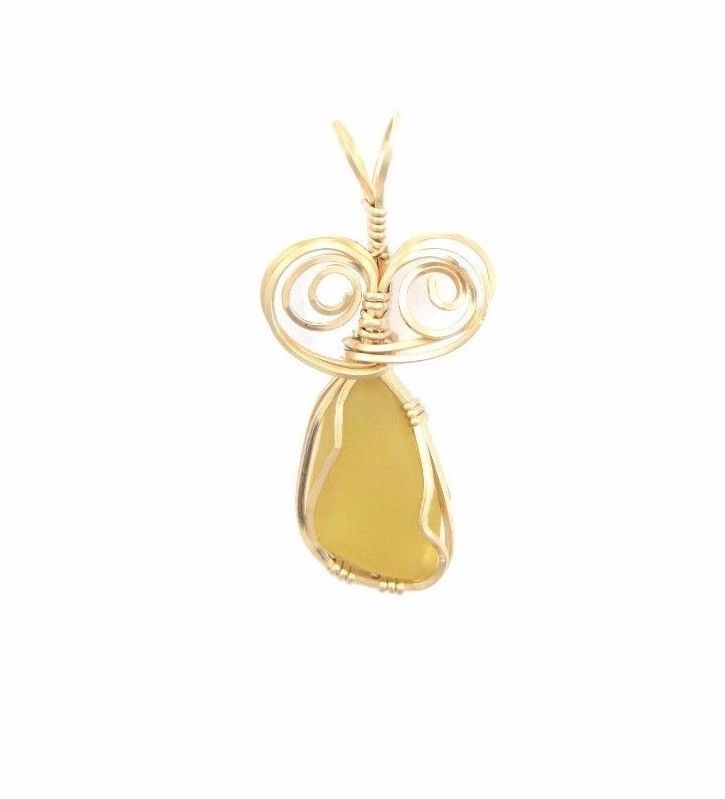 YELLOW SEA GLASS PENDANT IN GOLD FILLED WIRE
