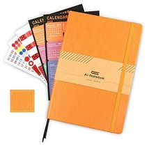 College Ruled Notebooks Journal, A5 Lined Yellow Hard Cover PU Leather P... - $16.26