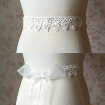 Ivory White Lace Bridal SASH BELTS Rhinestone Sash Wedding Bridesmaid Sashes NWT image 2