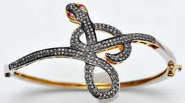 Snake Vintage Inspired 4.15Ctw Rose Cut Diamond Silver Cuff Ruby Bracele... - $650.00