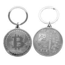 Gold Plated Bitcoin Coin Key Chain BTC Coin Art Collection Design Key Ring Gift image 8