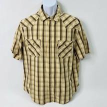 Levis Mens XL Yellow Plaid Pearl Snap Cowboy Country Western Short Sleev... - $20.21