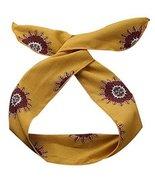 Boho Headbands for Womens Vintage Yellow Self-tie Twist Bow Wire Hair Ba... - $20.50