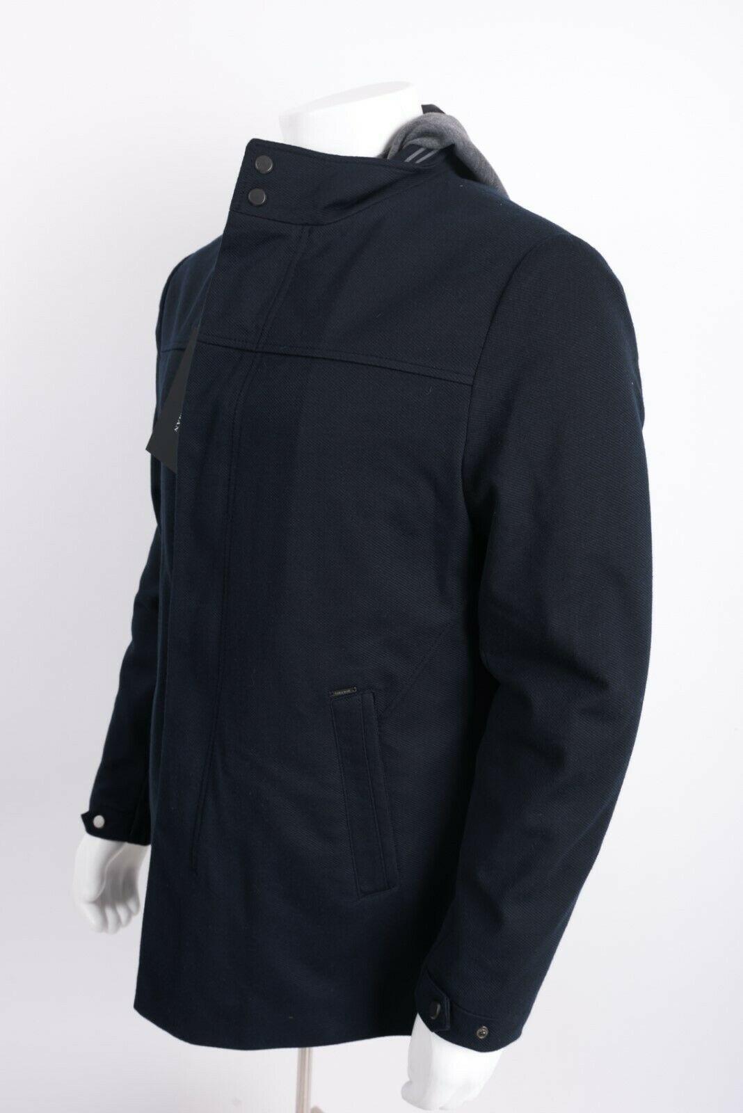 Zara Man Mens Jacket Coat Blazer Removeable Interior Navy Blue Gray Hooded NWT image 3