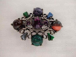 Stunning vintage Exquisite signed silver metal colored glass brooch. - $42.75
