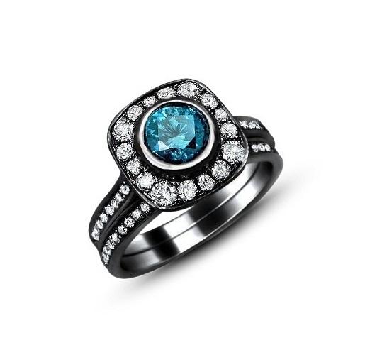 Women's Fashion 14k Black Rhodium Finish 925 Silver Blue Topaz Wedding Ring Set