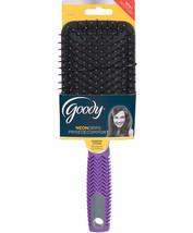 Goody* Hair Brush Neon Grip Ball-Tipped Bristles Everyday Styling Purple Chevron - $8.98