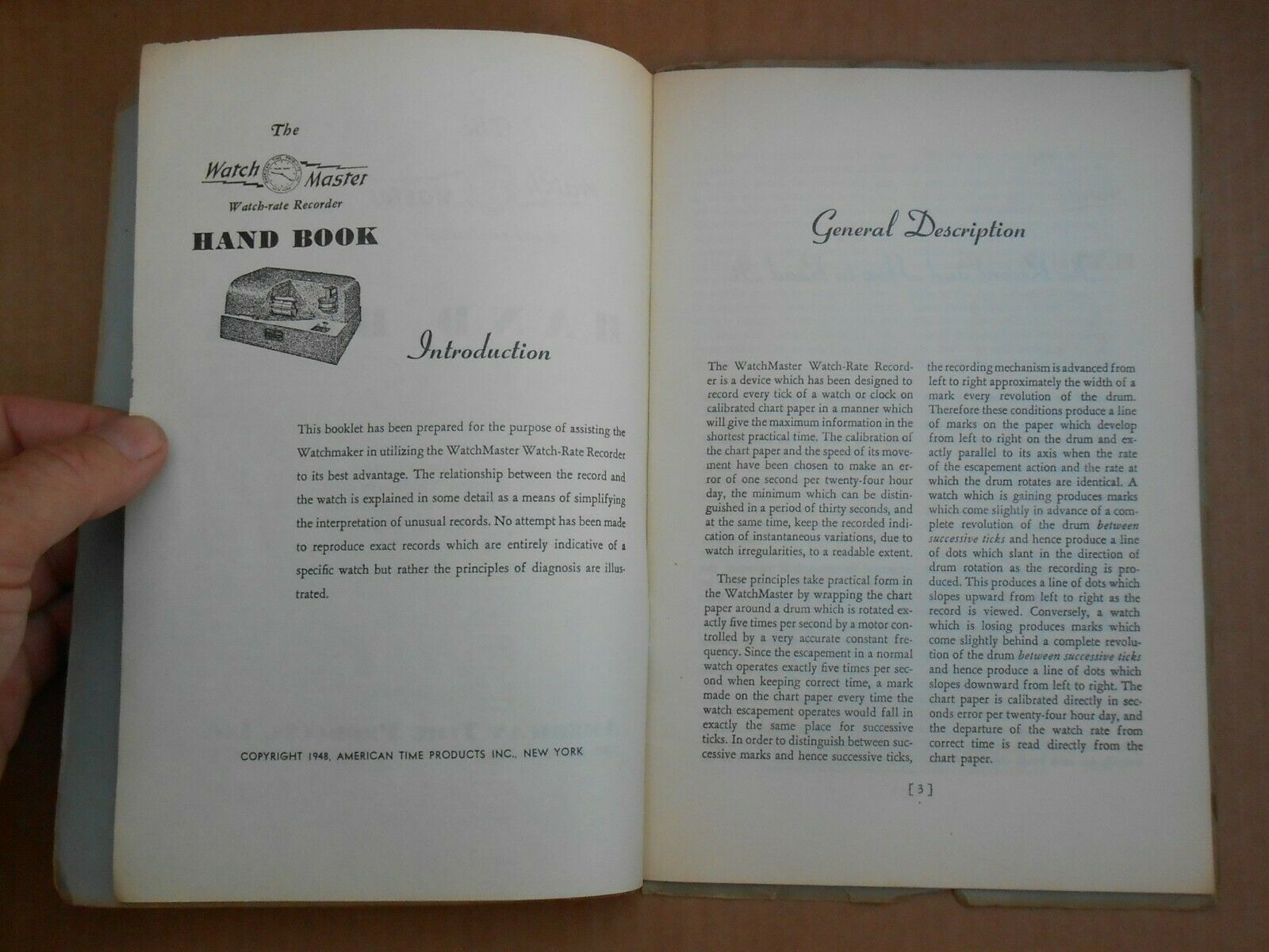 Vintage 1948 Timepiece Watch Master Hand Book WatchMaster Watch-Rate Recorder image 3