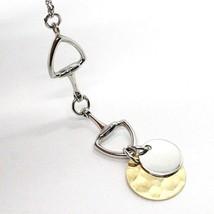 Halskette Silber 925, Kette Oval, Doppelt Disco Anhänger, Poliert und Gehämmert image 2