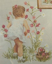 "CROSS STITCH KIT from Janlynn GIRL WITH COSMOS Flowers #29-18 NIP 12"" x ... - $14.50"