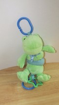 "Koala Baby Green Frog Pull Toy Vibrating Rattle Plush 8"" hanging clip on ring - $9.99"