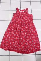 K4499 Girls HANNA ANDERSSON red TANK DRESS white binding Cotton/Poly, si... - $28.97
