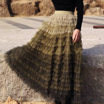Women Army Green Tiered Tulle Skirt High Waist Tulle Party Tulle Skirt Plus Size image 6