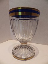 "HEISEY Glass 22k Gold Blue Bands Narrow Flute Ribs 5.75"" Water 1/2 LB Candy - $24.70"