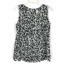 Merona Womens Shirt Size Medium M  Black White Scoop Neck Sleeveless But... - $15.58