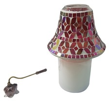 MULTI COLOUR MOSAIC CANDLE LAMP, SPARKLING WOODS CANDLE JAR & NOUVEAU SN... - £50.18 GBP