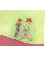 DESIGNS BY LUCINDA Mixed Materials Red Hat Purple Dress Pastel Pin Brooc... - $29.69