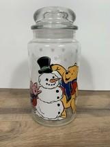 Anchor Hocking Disney Christmas Winnie the Pooh Snowman Glass Jar Canist... - $13.86