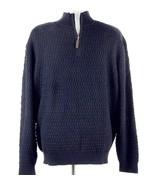 TASSA ELBA Textured Cotton Sweater Size L XL 1/2 Zip Navy NWT - $19.99