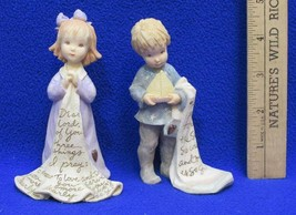 Foundations Figurines Girl w/ Blanket & Boy w/ Sailboat Prayer Lot 2 K H... - $9.89
