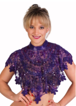 Sequin Beaded FULL Collar Shoulder Shrug Shawl Wrap Applique Purple - $64.99