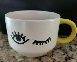 STARBUCKS Siren Eyes WINK MUG Coffee Tea 14oz Ceramic Cup White w/ Yello... - $14.84