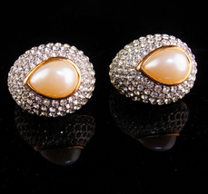 Statement jewelry - over 200 Rhinestones earrings - HUGE Pearl teardrops... - $85.00