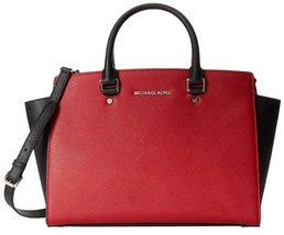 Michael Kors Selma Large Scarlet Red Black Saffiano Leather Satchel Bag Nwt - $291.91