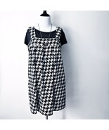 Vintage No Bounderies Jumper Dress Womens XL Houndstooth Black & White S... - $30.48