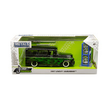 1957 Chevrolet Suburban Black with Green Flames and Extra Wheels Just Tr... - $36.91