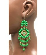 "4.5"" Long Statement Bohemian BOHO Chandelier Earrings, Green Lucite Beads - £9.43 GBP"
