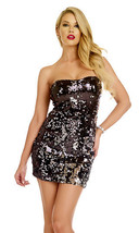 Forplay Clubwear Solerno Black Sequin Strapless Mini Dress - $28.99