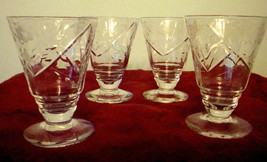 Parfait Glasses Vintage Etched Crystal Set of 4 Cordial Fruit Juice Liqueur - $18.42