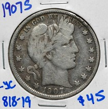 1907S Silver Barber Half Dollar 50¢ Coin Lot# 818-19