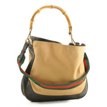 GUCCI Web Sherry Line Bamboo 2Way Shoulder Bag Red Green Canvas Auth th067 - $240.00