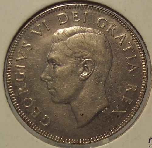 Primary image for KM #45 1950 Silver Canada 50 cent coin AU+ #0344