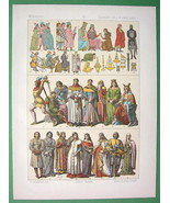 SPAIN Costume of Middle Ages Kings Soldiers Nobility - COLOR Antique Print - $17.55