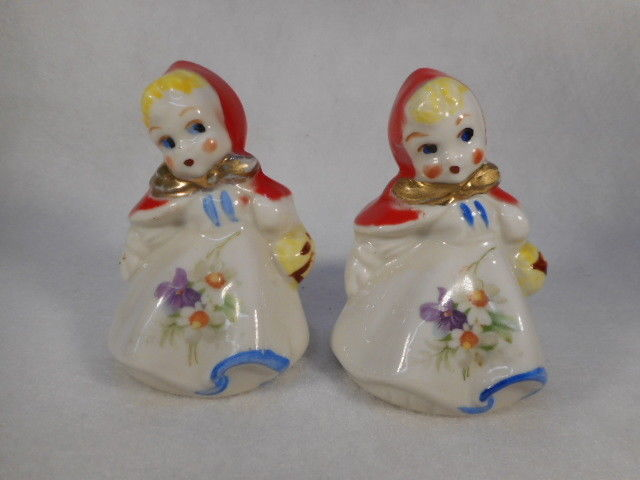 "Vintage Hull 3"" Red Riding Hood Salt and Pepper Shakers"