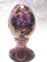 Fenton Glass Pink Rosalene Egg Hand Painted and Signed Limited Edition - $30.00