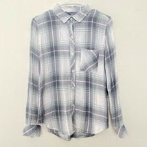 Rails XS Plaid Button Up Long Sleeve Collared Shirt Top Gray Blue White - $24.97