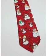 Mens Tie Winter Snowmen Christmas Holiday Red Hallmark Yule Tie Greetings - $11.69