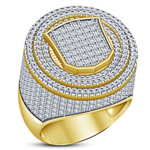 Diamond 10K Yellow Gold Plated 925 Sterling Silver Iced Out Pinky Mens B... - $175.99