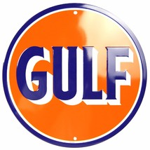 "Gulf Oil Gasoline 12"" Embossed Round Metal Circle Sign - $12.95"