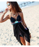 Cross Front Black Bohemian Tankini Bikini Set Pad underwire Swimsuit Swi... - $18.50