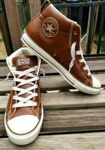 Converse All Star Chuck Taylor Men's Street Mid Leather Sneakers Brown Size 11 - $46.01