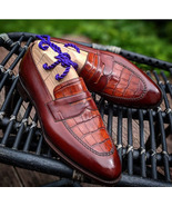 Handmade Burgundy Alligator Texture Leather Round Toe Shoes, Men's Penny... - $159.97+